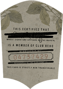 Bébo Club Speakeasy Membership Card