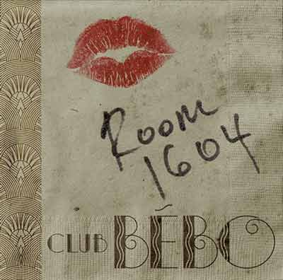 Bébo Club Kiss Napkin with Room Number