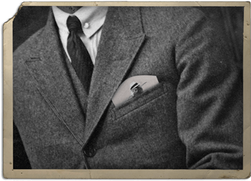 Man with Bébo Bird Pocketsquare